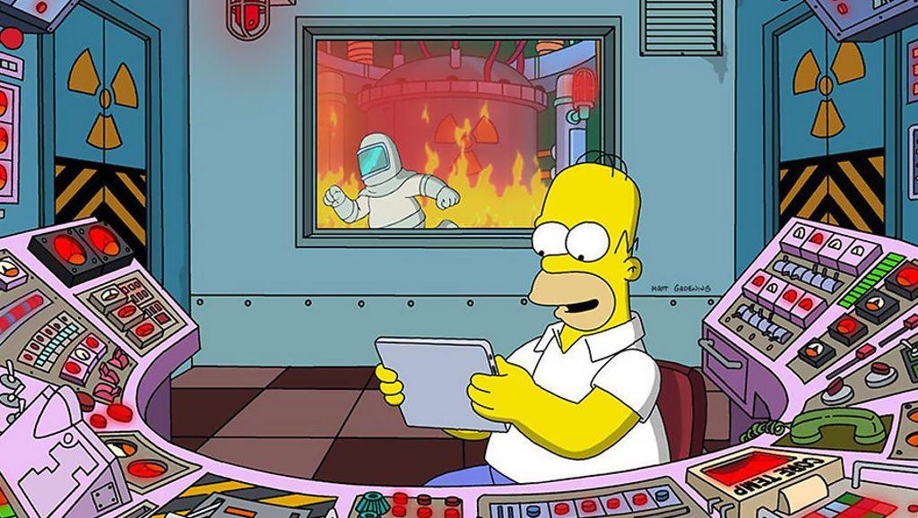 Гомер Симпсон на рабочем месте на атомной станции