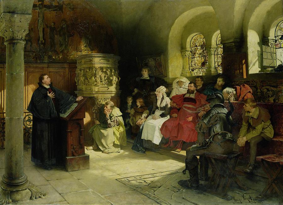 Проповедь Лютера в Вартбурге. Гуго Фогель, 1882