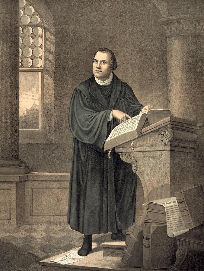 Мартин Лютер за кафедрой читает из Библии. Литография с картины Фридриха Веле, 1882